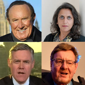 Clockwise from top left : Andrew Neil, Ritula Shah, Mark Mardell and Ian King