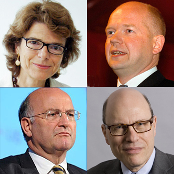 Clockwise from top left - Vicky Pryce, Lord William Hague, Joshua Rozenberg and Roger Bootle
