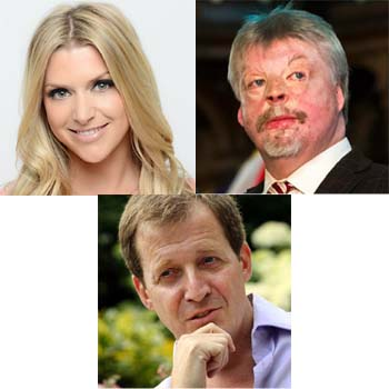Clockwise from top left: Anna Williamson, Alastair Campbell and Simon Weston